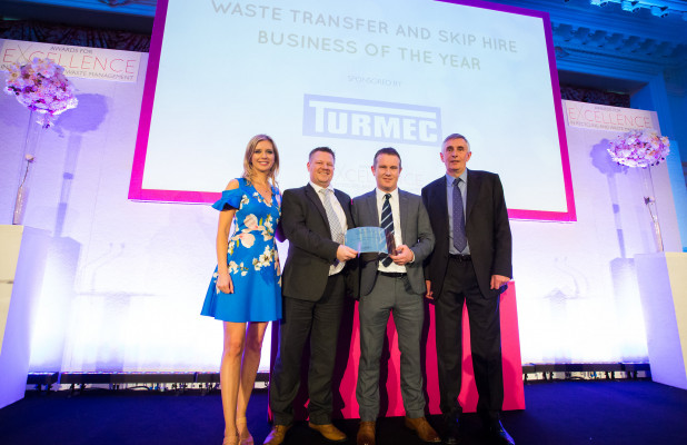 Waste Transfer and Skip Hire Business of the Year, Wastecycle of Nottingham, (l-r) Rachel Riley; Paul Clements of Wastecycle; John Connor of sponsor Turmec; and Steve Eminton