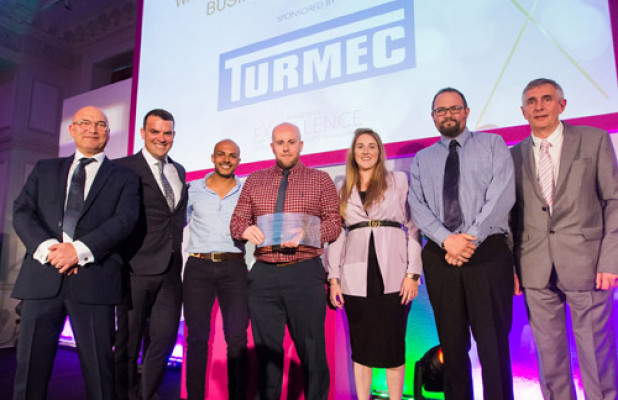 Winner of Waste Transfer and Skip Hire Business of the Year: Smith's (Gloucester), with Brian Thornton from sponsor Turmec